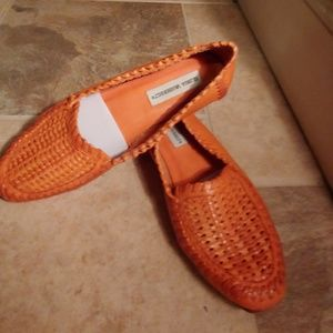 Orange leather woven huarache loafer 6.5